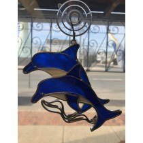 Dolphin w/wave Stained Glass