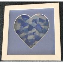 """8"""" x 8"""" Heart Sea Glass Picture"""