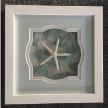 """9""""x 9"""" Starfish Shaped Seaglass Picture"""