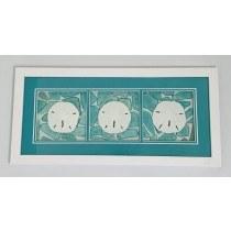 Triple Sanddollar/sea glass art